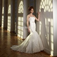 bead ends - High End Strapless Fishtail Crystal Sash lace mermaid Wedding Dress