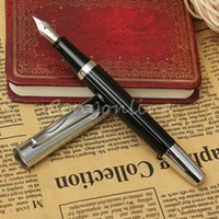Wholesale 2015 NEW Stylish Black Stainless Black Medium Nib mm Study Business Fountain Pen Ink Gifts Writing Office