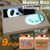 bank coins - Zorn toys Piggy Bank Cute Stealing Coin Cat Money Box Electric Savings box style Panda Dog Pig Mouse Monkey kids gifts Christmas toys