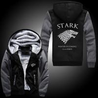Wholesale 2016 Differ Game Of Thrones House Of Stark Graphic Super Warm Thicken Fleece Zip Up Hoodie Men s Coat Black