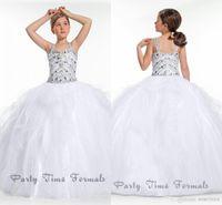beaded overlays - Soft Tulle Beaded Sleeveless Flower Girl Dresses White Long Little Girl Pageant Ball Gown with Straps Ruffled Overlays