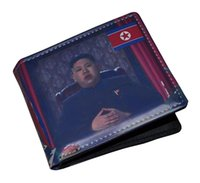 american north korea - 2016 Fashionable Kim Jong un North Korea Bifold Unisex Short Wallet Card Holder Bag Have Stock In UK