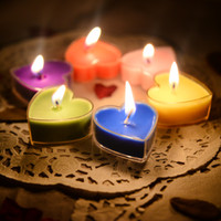 Wholesale 2016 Hot Sale Candle Favors Colors Romantic Candle Heart shaped Confession of Love Small Candle Lights In Stock Wedding Party Supply