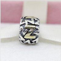 alpha bracelet - Sterling Alpha Z Silver letter charms and Beads fit European Bracelet fashion jewelry Mix Min order is