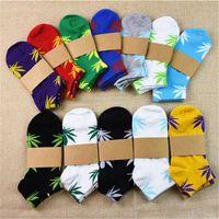 Wholesale MOQ PAIRS Skateboard sports sock Plantlife boat socks short SKATE cotton socks maple leaf socks