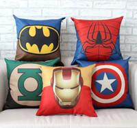 Wholesale The Avengers Pillow Case Cartoon Pillow Case Superman Batman Wade Printed Cushion Cover Cotton Linen Pillow Cover Home Textiles Xmas Gift