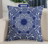 Wholesale 2016 Hot selling China classical style throw pillow with a blue and white pattern sofa office back cushion cover cm decorative pillow