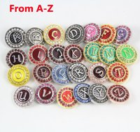 Wholesale Newest Brand Mixed Colours Metal Round Snap Alphabet With Rhinestone From A Z mm Ginger Snaps Button For DIY Bracelet Necklace Jewelry