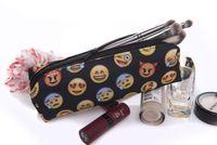 Wholesale Black Emoji D Printing Cosmetic Bag Organizer New Fashion Women Makeup Bag Student Pencil Bag Cases