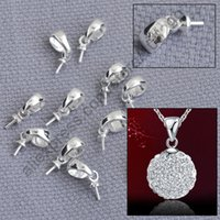 bead cap bails - Fast Ship Solid Sterling Silver Jewelry Findings Cup Cap Bail Connector For Pendant Handmade Beading Jewelry