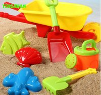 Wholesale 7 Beach Toy Set Kids Plastic Wheelbarrow Mold Shovel Kettle Water and Sand Play Tool