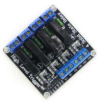 al por mayor canal de ssr-10pcs / lot 4 Módulo de relé DC 5V Canal de estado sólido de alto nivel OMRON SSR AVR DSP para Arduino