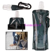 aluminum travel mugs - Summer hot Eco Friendly Portable Foldable Reuseable ml water bottle with Carabiner for outdoor sports travel mug folding bags Via DHL