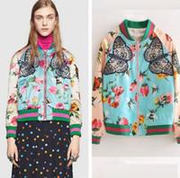 Wholesale Appliquéd printed silk satin bomber jacket