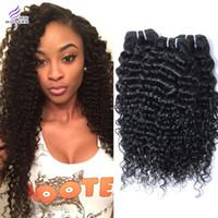 achat en gros de bouclés tisse coiffures-Indian Remy Weave 100% Virgin humain Extensions de cheveux bouclés vague profonde 3 Bundles lot mixte Longueurs Natural Black 1B # Coiffures machine Trame