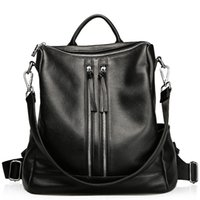 Wholesale fancychic leather shoulder cowhide Fashion Handbag Black handbag in Europe and all match commuter high capacity dual purpose Backpack