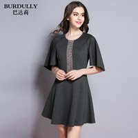 adult bat wings - 2016 new styles Female outfit Round collar bat wing sleeve slim dress Fashion temperament Boutique ladies Set with diamonds
