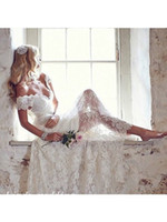 anna court - Vintage Anna Campell A Line Princess Sleeveless V neck Lace Court Train Wedding Dress Bridal Gown
