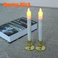 battery operated candlesticks - RC Moving Flame Wick LED Long Candle Candlestick Electric Battery Operated for Wedding Party Evening Christmas Decoration