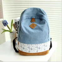 bags back pack - Fashion Floral Lace Denim Canvas Women Bag Backpack School bag For Teenagers Ladies Girl Back Pack Schoolbag Bagpack Mochila