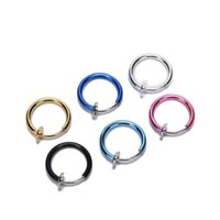Wholesale Goth Punk Clip On Fake Piercing Body Nose Lip Rings Hoop Ear Tongue Ring mm Unisex Tongue Ring Hot Selling