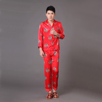 Wholesale Novelty Red Chinese Style Men s Sleepwear Long Sleeve Pajamas Suit Robe Gown Print Dragon Pyjamas Set S M L XL XXL XXXL MP059