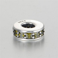 authentic pandora spacers - Zircon charms spacers authentic S925 silver fits for pandora style bangle bracelet and necklace aleLW617C