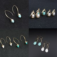 Wholesale Fashion Turquoise Dangle Earrings Pairs White Blue Stone Pearl Earrings K Gold Plated Women s Jewelry Accessories