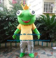 adult king crowns - Sanguine Green The Frog Prince King Mascot Costume Cartoon Character Mascotte Adult Big Mouth Yellow Crown NO