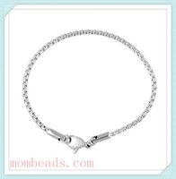 Wholesale 2 mm Round Box stainless steel Chain Women Bracelets With Lobster Clasp For jewelry Making Charms Bracelets Fit Pandora Chamilia Beads