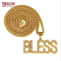 angels gift boxes - 2016 K Gold Plated Letter quot BLESS quot Pendant Necklace With Bling Rhinestone Jewelry Hip Hop nightclub exaggerated With Gift Box