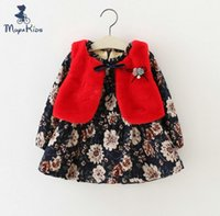 american vintage clothing wholesale - Vintage Baby Kids Clothing Korean Style Kids Outfits Girls Long Sleeved Floral Thicken Tops Fur Waistcoat Clothing Sets Cute Suits