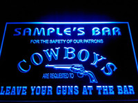 beers names - DZ037 b Name Personalized Custom Cowboys Leave Your Guns At The Bar Beer Neon Sign