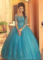 Wholesale Ball Gown Quinceanera Dresses Lace Sheer Neck Appliques Beads Long Sleeves Bridal Dresses Vintage Princess Graduation Dress