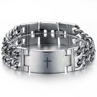 bible rocks - Heavy Metal Men s Religious Bible in Spanish Cross Cuban Curb Link Silver Chain Bracelets Cuff Wristband High Polish Punk Rock Mens Jewelry