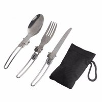 Wholesale 3 in Foldable Outdoor Camping Picnic Tableware High Quality Stainless Steel Folding Fork and Spoon ASLT