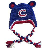 baseball team photos - Chicago Cubs Hat Knitted Crochet Baby Boys Girls Baseball Team Hat Children Beanie Earflaps Winter Animal Hat Newborn Toddler Photo props