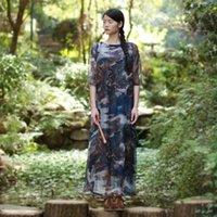 Wholesale 2016 new Styles of Republic of China autumn new women s folk style long sleeve head loose retro silk chiffon dress