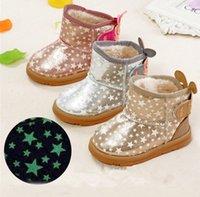 Enfants Starlight lumineux Bottes de neige Nourrissons bande dessinée lumière des bottes d'hiver pour enfants chaussures chaudes pour 1-6T