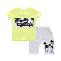 baby sweat suits - 2016 summer new round neck letter pattern cotton breathable comfortable sweat shorts and T shirt piece baby suit