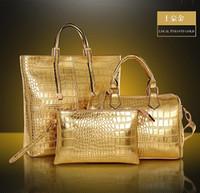 crocodile skin - 1pc moq hot selling shoulder bags High quality crocodile skin pattern pu leather handbags bags purses set fashion woman handbag