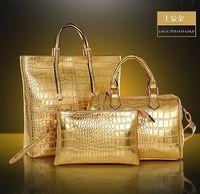 high quality leather handbags - hot selling shoulder bags High quality crocodile skin pattern pu leather tote bags handbags purses set fashion woman handbag kit