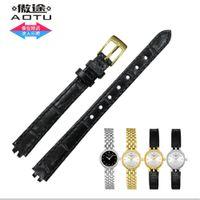 Gros-AUTO Durable Bracelet en cuir véritable Bracelets montres de poignet pour Tissot T-LADY T058 LOVELY T058009 Series Montre Band Noir + OUTILS GRATUIT