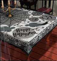 Wholesale Halloween festival special Black Lace Table Cloth pumpkin Ghost Bat Spider net hollow out table cloth