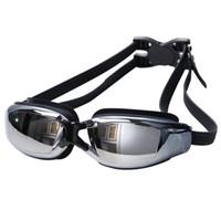 Wholesale Water Sports Swimming Waterproof HD anti fog goggles men women swimming glasses Racing Goggles plating myopia And box packing