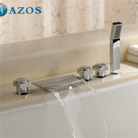 Wholesale AZOS Bathtub Faucets Chrome Polished Deck Mount Hot Cold Mixer Sprayer Showerheads Handles Diverter Valves YGWJ050