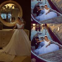 Wholesale Romantic Off Shoulder Wedding Dresses Appliques Sweep Train Said Mhamad Bridal Gowns Luxury Wedding Vestidos Custom Made