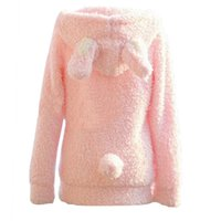 Wholesale Korean Winter Cute Rabbit Ear Hair Plush Casual Coat Button Fleece Coat Cardigan Full Sleeve Sweet Hooded Pink White