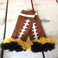 Wholesale Football brown leg warmer with black gold yellow ruffle American football baby leg warmers photo prop for kids birthday gift