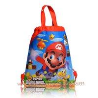 achat en gros de super tissus mario-12pcs / lot Super Mario Cartoon 34 * 27cm sacs à dos école sac non-tissés de sac Kid Hot vente Sac à dos pour enfants Sacs